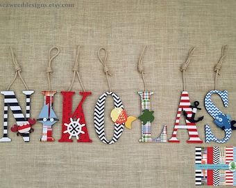 """Nautical Nursery Baby Name Letters 9"""" Decorative Coastal Beach Madras with or without nautical ropes / Hanging Baby Name Wall Decor letters"""