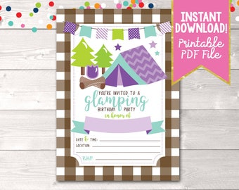 Printable Girls Glamping Birthday Party Invitation Camping Party Invite Instant Download PDF
