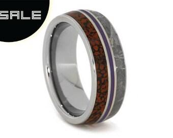 SALE - Gibeon Meteorite Wedding Band, Dinosaur Bone Ring With Purple Enamel, Men or Women's Titanium Ring, Commitment Jewelry