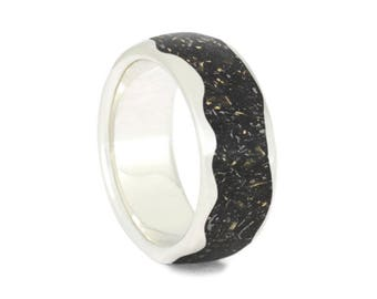 Wavy Stardust Wedding Band, Sterling Silver Ring With Meteorite And Gold Shavings, Black Stardust Jewelry