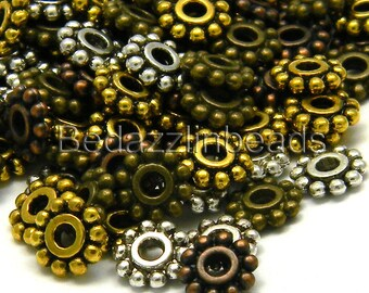 100 Assorted 7mm Flat Flower Antique Pewter Rondelle Spacer Beads
