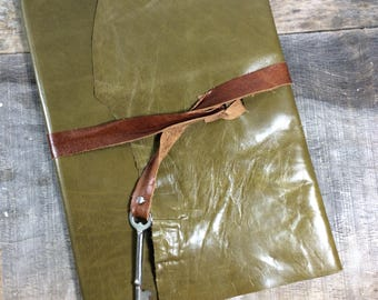 Baby Journal with Skeleton Key in Olive Leather