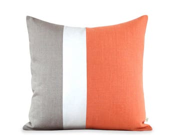 20x20 Color Block Pillow in Orange, Cream and Natural Linen by JillianReneDecor | Modern Home Decor | Gift for Her | Tangerine