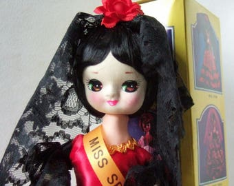 Vintage Pose Doll, Mint in Box - Kitsch Big-Eyed Doll, Miss Spain from International Beauties Series