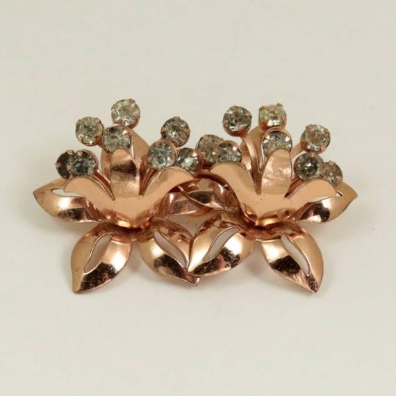Vintage Rose Gold Tone Flower Brooch