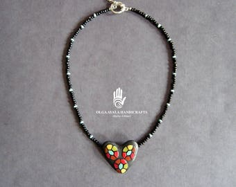 Multi-Color Dotted Heart Choker