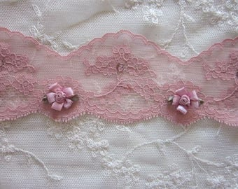 Antique MAUVE PINK Lace RibbonTrim Embellished w Stone Rhinestone w Satin Flowers Baby Doll Pageant Bridal Sewing