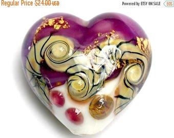 ON SALE 30% off 11818425 Cranberry Treasure Heart (Large) - Handmade Glass Lampwork Beads