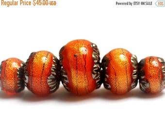 ON SALE 30% off NEW! Glass Lampwork Beads - 10706811 Five Bonfire Shimmer Graduated Rondelle Bead Set