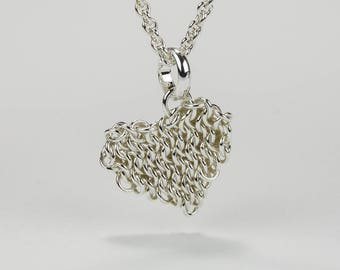 Heart Charm Necklace, Small Argentium Sterling Silver Heart Chainmaille Pendant, 16 18 22 28 36 inch 1.7mm Cable Chain w/ Lobster Claw Clasp