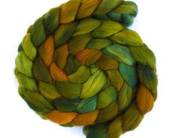 Moss and Pine, Rambouillet Wool Roving - Hand Painted Spinning or Felting Fiber