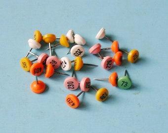8 Vintage Tack Tacks Number Tacks Numbered Tacks DIY Jewelry Tacks Yellow Orange White Tacks