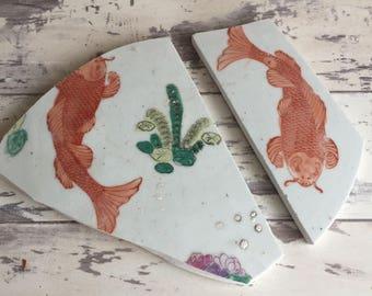 Broken Porcelain for Mosaic - Koi Fish Handpainted Japanese Pot Base - Large Flat Tile