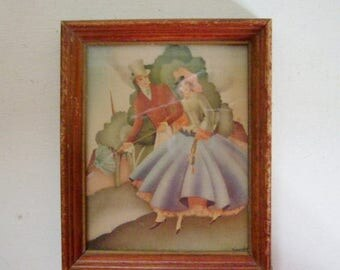 On Sale Art Deco vintage Sandre framed print courting couple 1940s small lithograph victorian lady and gentleman in wood frame