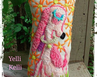 Pink Puppy Freehand Embroidered Mini Pillow Ready to Ship YelliKelli