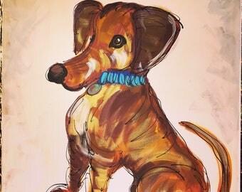 "Custom Dog Painting From Photo Fun Style 18x24"" YelliKelli"