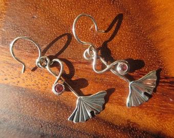 Brutalist Sterling Silver Small Ginkgo and Pink Orange Rhodolite Garnet Dangle Earrings