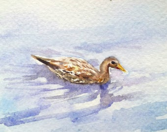 original watercolor painting ACEO duck in pond,farm bird,2.5x3.5 inches