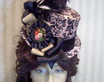 Victorian Top Hat, Steampunk top Hat, Kentucky Derby Top Hat, Brown and Black Top Hat, Wedding Top Hat