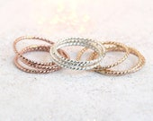 GOLD, ROSE or SILVER stacking ring. one stacking rope ring. dainty twist ring skinny slim. 14k gold fill rose or sterling silver stack ring.
