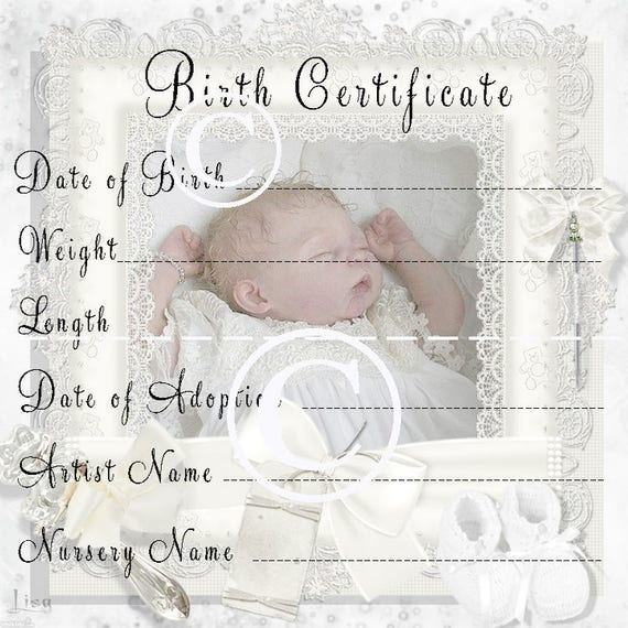 Reborn Baby Doll Birth Certificate Instant Download To Print