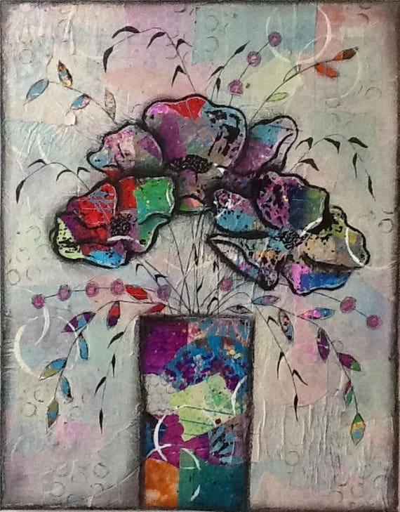 SALE Original Mixed Media Floral Painting Wall Art Wall Decor Flowers Colorful Vibrant Whimsical Abstract