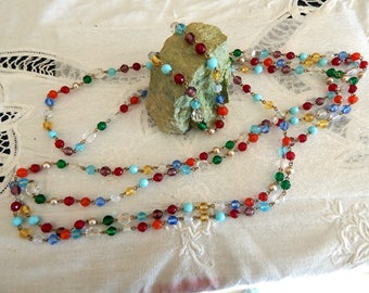 46 Inch Multi Colored Flapper Beads - Faceted Crystal Beads - Wire Links - Vintage Jewelry
