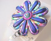 Whimsical flower Badge Reel in deep purple and multi colored print alligator or belt clip