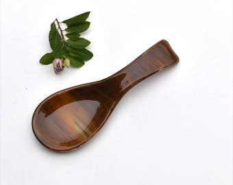 Fused glass spoon rest or dish in different brown colors