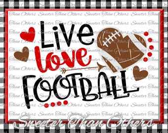 Football SVG Live Love Football Svg Distressed Football pattern Vinyl Design SVG and Silhouette, Cameo, Cricut, Instant Download