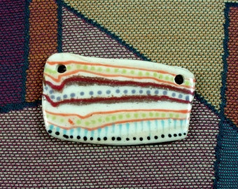 PENDANT Ceramic Clay Jewelry Component, One of a Kind Handmade and Hand Patterned, Unique Reversible Rectangular Shape, Limited Edition