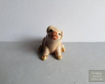 Tiny Pig Little Piggy Miniature Ceramic Porcelain Farm Animal Figurine Pig Statue Pink Piglet
