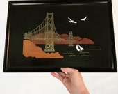 vintage Couroc of Monterey serving tray - Golden Gate Bridge inlaid bar tray - Mid Century Modern - San Francisco California souvenir tray