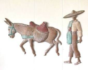 vintage metal wall sculpture - Southwestern man burro plaque - boho desert wall hanging