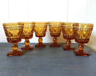 vintage amber glasses - Colony Park Lane - pedestal wine goblet - jewel tone barware - boho barware