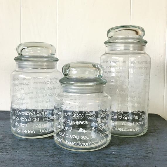 vintage glass canisters kitchen vintage glass canister jars kitchen food storage clear 22581