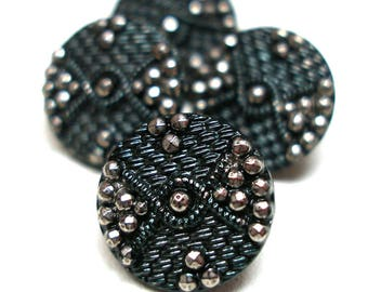 "1800s French Lacy glass BUTTONS, 4 Victorian black glass with silver luster. Faux facets & imitation fabric design, 1/2"". Made in France"