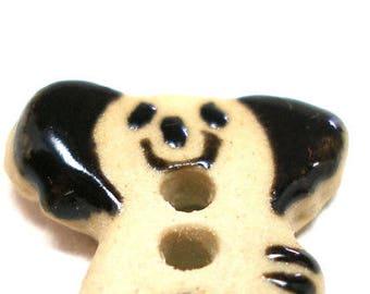 "Mini Ceramic Koala Bear Button, Handmade smiling bear, 5/8""."