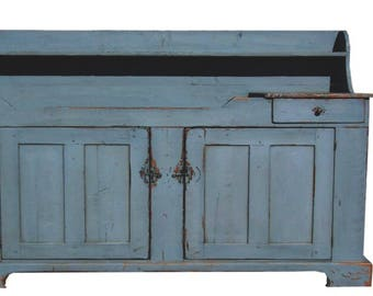 Primitive Rustic Farmhouse Furniture Cabinet Painted Country Dry Sink  Reproduction Distressed Colonial Kitchen Cupboard Furniture