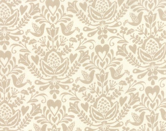 Rosemaling Linen North Woods by Kate Spain Moda Fabrics 27242 24, linen fabric, christmas fabric, kate spain fabric, gray fabric