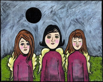 Full Eclipse of the Moon acrylic 8x10 inch painting surreal angels