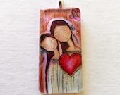 Un Solo Corazón - Mother - Daughter Love  -   Original Glass Tile Pendant  by FLOR LARIOS ART