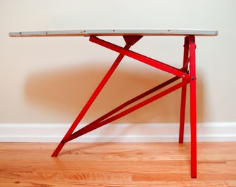 Vintage toy ironing board - original paint and cover - folds up