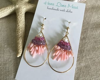 Free Shipping Coral and Gemstone Earrings