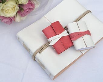 50% SALE Small Wedding Guest Book: White and Natural. Simple elegant style for brides, engagements and weddings Made in UK ships worldwide