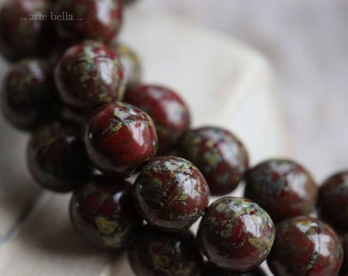 MAROON MARBLES .. NEW 25 Picasso Czech Druk Glass Beads 6mm (6063-st)