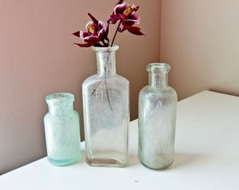 Vintage  Glass Bottles,  Antique Medicine Bottles, Glass Bud Vases, 3, Small Glass Vasses
