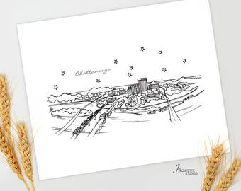 Chattanooga, Tennessee - United States - Instant Download Printable Art - City Skyline Series