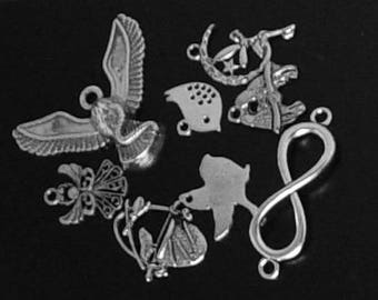 CLEARANCE Jewelry Charms 8 Silver 17mm to 62mm (1023chm17s1-1)