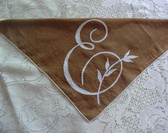 Monogram Handkerchief, Letter E,, Vintage, 13 inch square, Brown with Ivory Inlaid, Cotton,